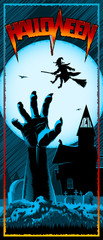 Zombie Hand from grave and witch flies on a broomstick on a background with Moon. Template design of invitation card, leaflet, banner, flyer for Halloween. Vector graphic illustration. Size 3.66x8.5in