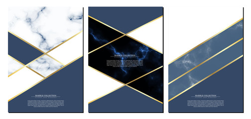 Marble collection abstract pattern texture navy blue background template illustrator vector