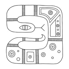 Vector hand drawn black and white illustration of isolated snake with decorative geometrical elements, lines, dots. Picture for coloring. Line drawing. Graphic illustration.