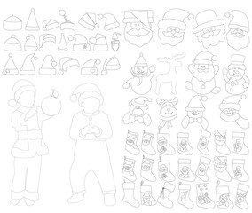 isolated set of new year sketches