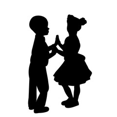 isolated, silhouette little girl and boy are dancing