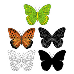 butterfly, silhouette and sketch, icon