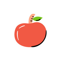 Vector illustration with trendy cartoon style red apple icon