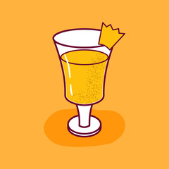 Vector cartoon isolated pineapple juice isolated icon