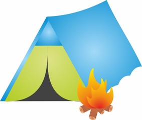 Hiking and camping Triangle tent in green and blue colors with Fire flame icon, campfire. Mountain camp, Tourist camp tent.