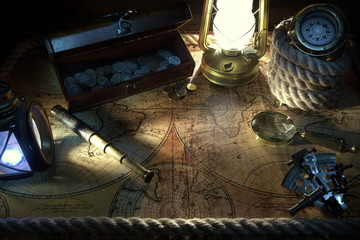 Old ship lantern,compass,coins,monocle,loupe, sextants,rope and pirate map. Travel and marine engraving background. Treasure hood concept. Vintage style.
