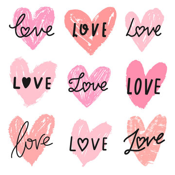 Vector hearts doodle set with word love lettering