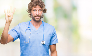 Handsome hispanic surgeon doctor man over isolated background showing and pointing up with fingers number four while smiling confident and happy.