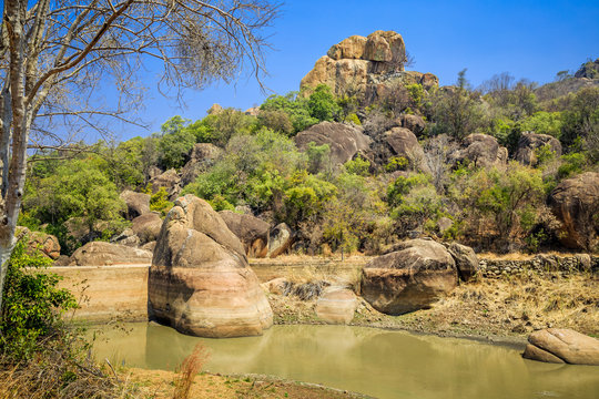 Balancing rocks in Matobo National Park, Zimbabwe, formed by millions of years of weathering. September 11, 2016.