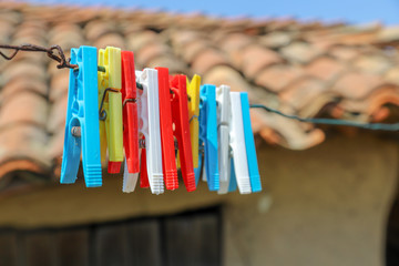 Colored laundry pins