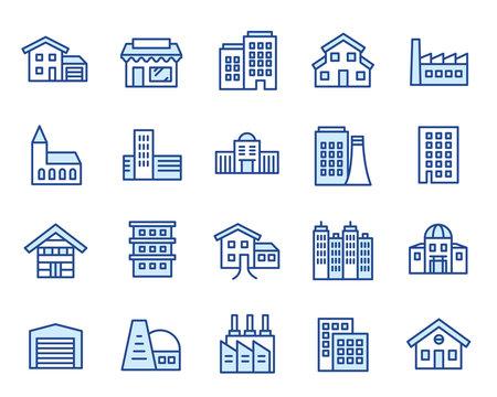 Häuser, Gebäude & Anlagen Vector Icon Illustration Set