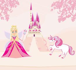 Cute unicorn and beautiful fairy