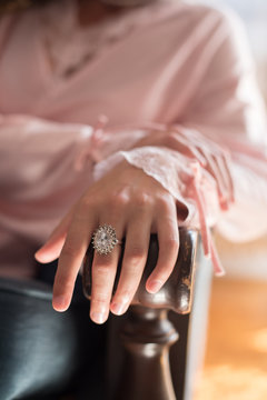 Diamond ring on a woman's hand
