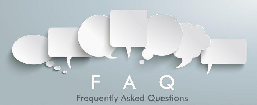 White Paper Speech Balloons FAQ Header