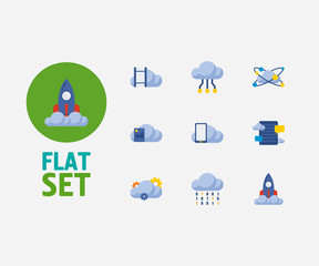 Cloud technology icons set. Big data and cloud technology icons with blog storage, video storage and cloud networking. Set of binary for web app logo UI design.