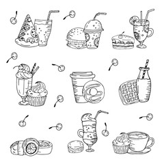 Black and white seamless vector pattern