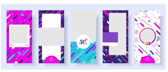 instagran stories template with cool memphis background vector illustration