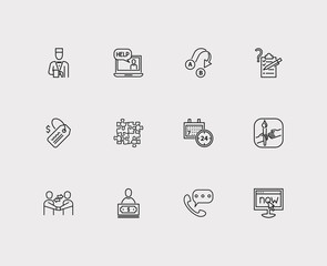 Support icons set. 24/7 and support icons with teamwork, service and call. Set of corporate for web app logo UI design.