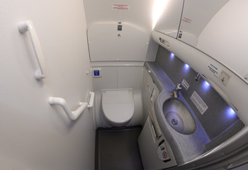 Bathroom of an aircraft Boeing 737-400