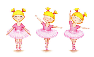 hands drawn picture of little beautiful ballet dancer in three different positions on white background by the color pencils