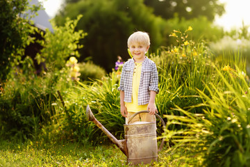 Cute toddler boy watering plants in the garden at summer