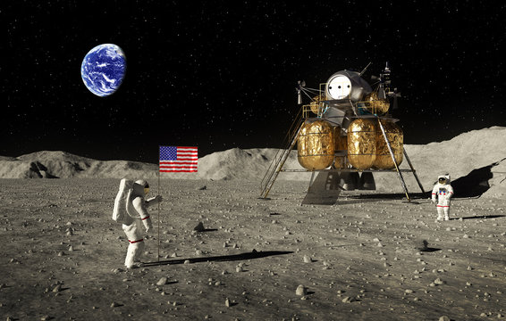 Astronauts Set An American Flag On The Moon