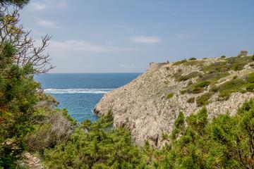 Der Pfad der kleinen Festungen in Anacapri auf der Insel Capri, Italien