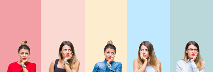 Collage of young beautiful woman over colorful stripes isolated background thinking looking tired and bored with depression problems with crossed arms.