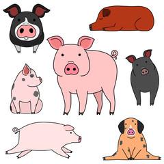 cute pigs doodle drawing set