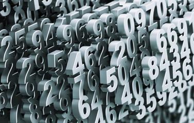 Close-up On A Digital Matrix Consisting Of Metal Numbers