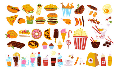 Big vector fast food & snack set isolated on white background: burger, dessert, pizza, coffee, chicken, wok, beef etc. Hand drawn sketch style, chalkboard drawing. Good for menu, special offer design.