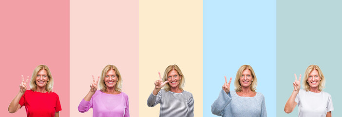 Collage of middle age senior beautiful woman over colorful stripes isolated background showing and pointing up with fingers number two while smiling confident and happy.