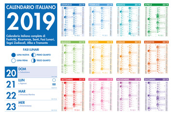 Italian Vector Colorful Monthly Calendar
