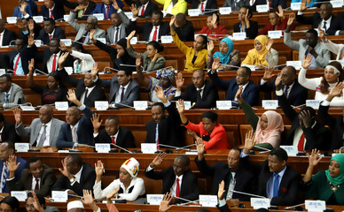 Ethiopian legislators raise their hands as they vote inside the House of Peoples' Representatives in Addis Ababa