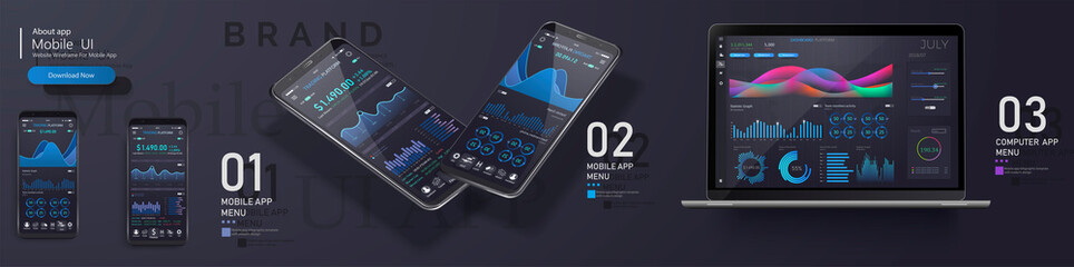 Market trade. Binary option. Trading platform, account. Press Call and Win transaction. Money Making, business. Market analysis. Investing. Screen of user interface for phone, laptop,