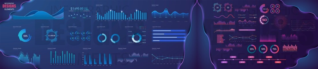 Obraz Modern modern infographic vector template with statistics graphs and finance charts. Diagram template and chart graph, graphic information visualization illustration - fototapety do salonu