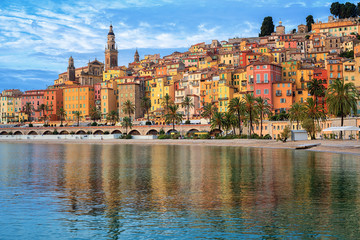 Foto op Canvas Nice Colorful houses in the Old Town Menton, french Riviera, France