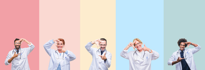 Collage of professional doctors over colorful stripes isolated background smiling making frame with hands and fingers with happy face. Creativity and photography concept.