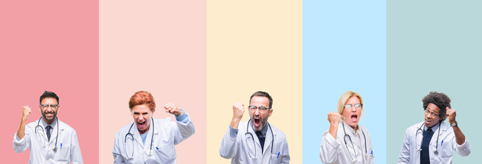 Collage of professional doctors over colorful stripes isolated background angry and mad raising fist frustrated and furious while shouting with anger. Rage and aggressive concept.