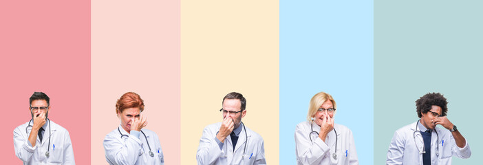 Collage of professional doctors over colorful stripes isolated background smelling something stinky and disgusting, intolerable smell, holding breath with fingers on nose. Bad smells concept.
