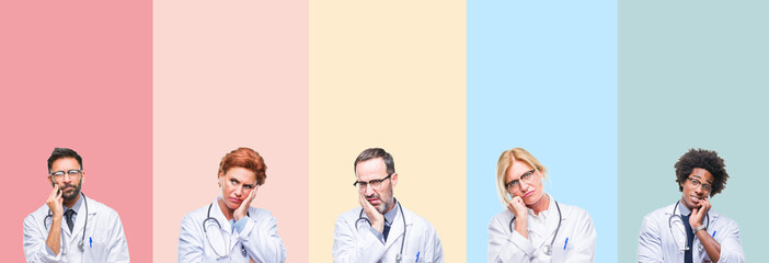 Collage of professional doctors over colorful stripes isolated background thinking looking tired and bored with depression problems with crossed arms.