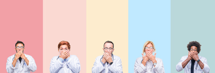 Collage of professional doctors over colorful stripes isolated background shocked covering mouth with hands for mistake. Secret concept.