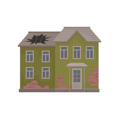 Old two-storey house with peeling paint and big hole in roof. Abandoned building. Flat vector illustration
