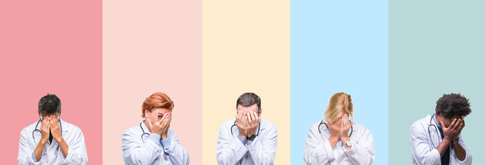 Collage of professional doctors over colorful stripes isolated background with sad expression covering face with hands while crying. Depression concept.