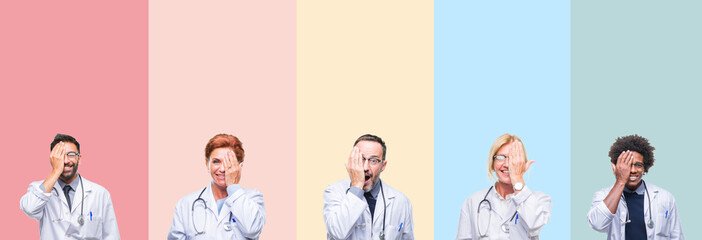 Collage of professional doctors over colorful stripes isolated background covering one eye with hand with confident smile on face and surprise emotion.