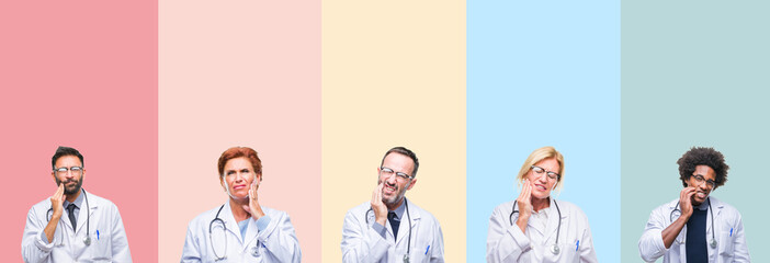 Collage of professional doctors over colorful stripes isolated background touching mouth with hand with painful expression because of toothache or dental illness on teeth. Dentist concept.