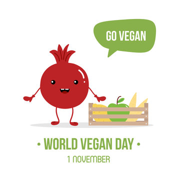 World Vegan Day vector cartoon illustration with cute pomegranate character with box of fresh fruits and vegetables, asking to go vegan.