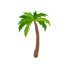 Palm tree with bright green leaves. Plant of tropical forest. Flat vector for advertising poster or banner of travel agency