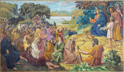 Wall Mural - PRAGUE, CZECH REPUBLIC - OCTOBER 13, 2018: The mosiac of miralce The Feeding the multitude in church kostel Svatého Václava by artwork of S. G. Rudl in workroom of Albert Neuhauser (1928.)