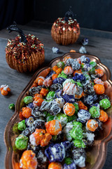 Halloween multi-colored popcorn party dish